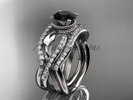 Platinum flower double wedding band with a Black Diamond center stone ADLR70S - $4,215.00