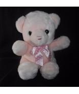 "14"" BIG AURORA BABY PINK TEDDY BEAR POLKA DOT BOW STUFFED ANIMAL PLUSH T... - $28.05"