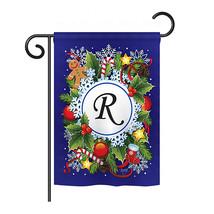 "Winter R Initial - 13"" x 18.5"" Impressions Garden Flag - G180096 - $19.97"