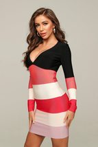 Celebrity Style Long Sleeve Sexy Pink & Black Striped Deep V Cocktail Party Dres image 2