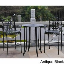 Wrought Iron Bistro Set Tall Patio Deck Garden Bar Footrest  image 2