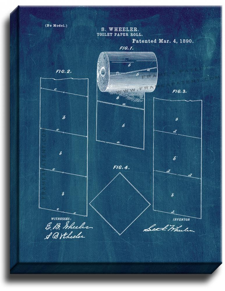 Primary image for Toilet Paper Roll Patent Print Midnight Blue on Canvas