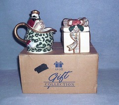 Avon St Nicholas Covered Sugar Bowl and Creamer 2001 Nbr F667661 w/Box - $14.99