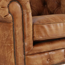 MarquessLife Handmade Tufted Couch Chesterfield Style Aged Leather Single Sofa image 6
