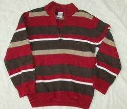 Boys Gymboree brown tan red wide striped sweater holiday 5-6 pullover 1/4 zip - $11.57