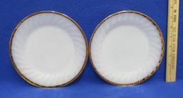 2 Vintage Round Salad Dessert Plates White Milk... - $10.39
