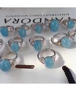 Natural Beautiful Oval Aquamarine Adjustable Quartz Crystal Ring For Gift  - $19.69