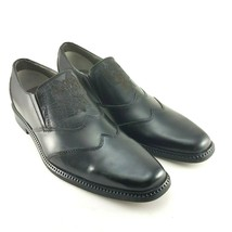 Back Stage by Skechers Mens Black Leather Slip On Loafers Dress Shoes Si... - $34.37