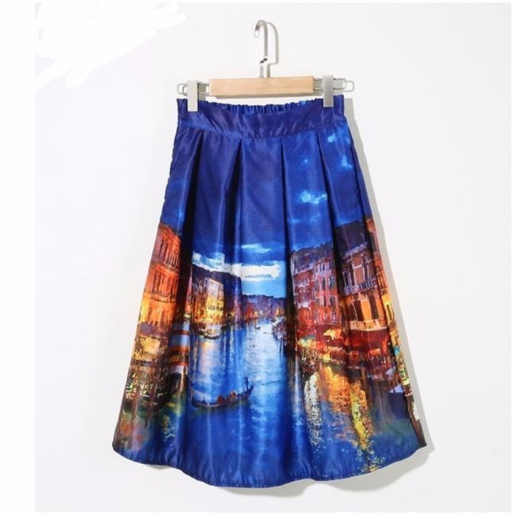 Vintage City Print Street View Pleated Skirt