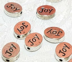 JOY Word FINE PEWTER Oval DISC BEAD - 11mm L x 9mm W x 3mm D Hole 1.5m