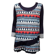 Aster by Firmiana Womens Blue Red White Print 3/4 Sleeves Casual Top Sz L - $12.87