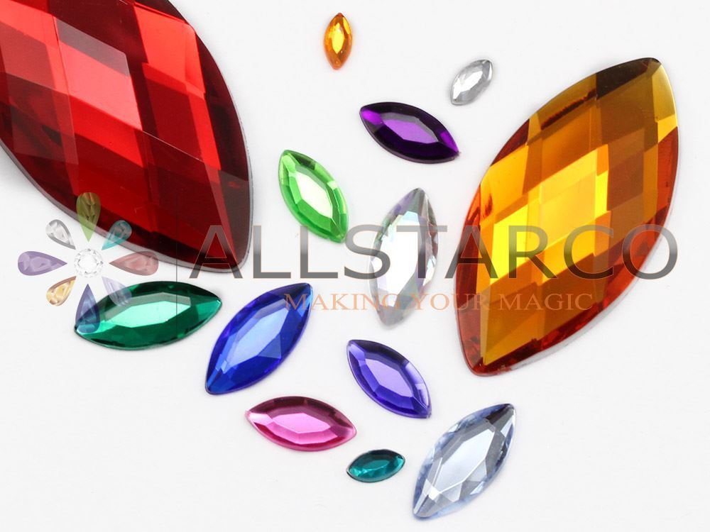15x7mm Gold Topaz .TZ Flat Back Navette Acrylic Gems High Quality - 40 PCS