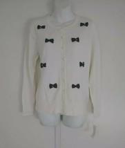 Charter Club Women's Cardigan Pearl Embellished Long Sleeve White Top Medium - $23.84