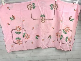 "Vintage Embroidered Tablecloth - 46"" Square Pink Linen, Brown Floral - $44.55"