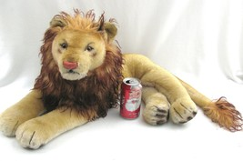 """Vintage Large STEIFF Leo The Lion Plush 25"""" 1950s Mohair Laying Down 12""""... - $138.55"""