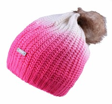 Bench Women's Acrylic Raspberry Cream Corked Bobble Faux Fur Pom Beanie NWT