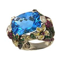 Unique Bright Multi Gemstones Ring in Gold - $2,950.00