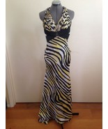 Closeout - La Femme Sexy Yellow and Black Tiger Stripe Open Back Evening... - $43.37