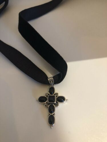 Genuine Black Onyx Cross 925 Sterling Silver Vintage Pendant Necklace Choker