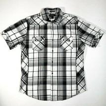 Helix Athletic Fit Mens Plaid Button Up Black Short Sleeve Shirt XL X-Large - $15.95