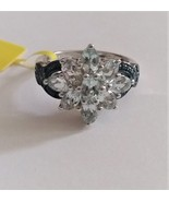 Blue Aquamarine Oval & Blue Diamond Cocktail Ring, Silver, Size 7, 2.17(... - $89.99