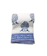 Tree & Peacock White Handmade 100 Percent Cotton Quilt For Sale Bedding Supplier - $120.00