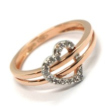 SOLID 18K ROSE GOLD DOUBLE TUBE BAND RING WITH CENTRAL CUBIC ZIRCONIA HEART image 1