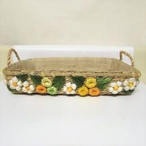 Weaved Straw Tray Raffia Tropical Flowers Bakin... - $17.81