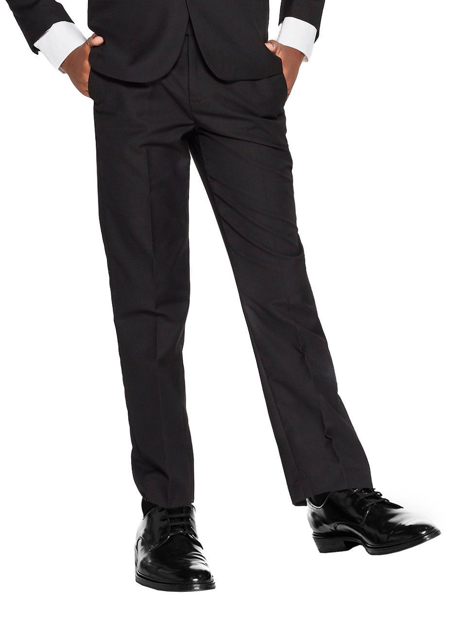 vkwear Boys Kids Juniors Slim Fit Flat Front Dress Pants Slacks with Belt