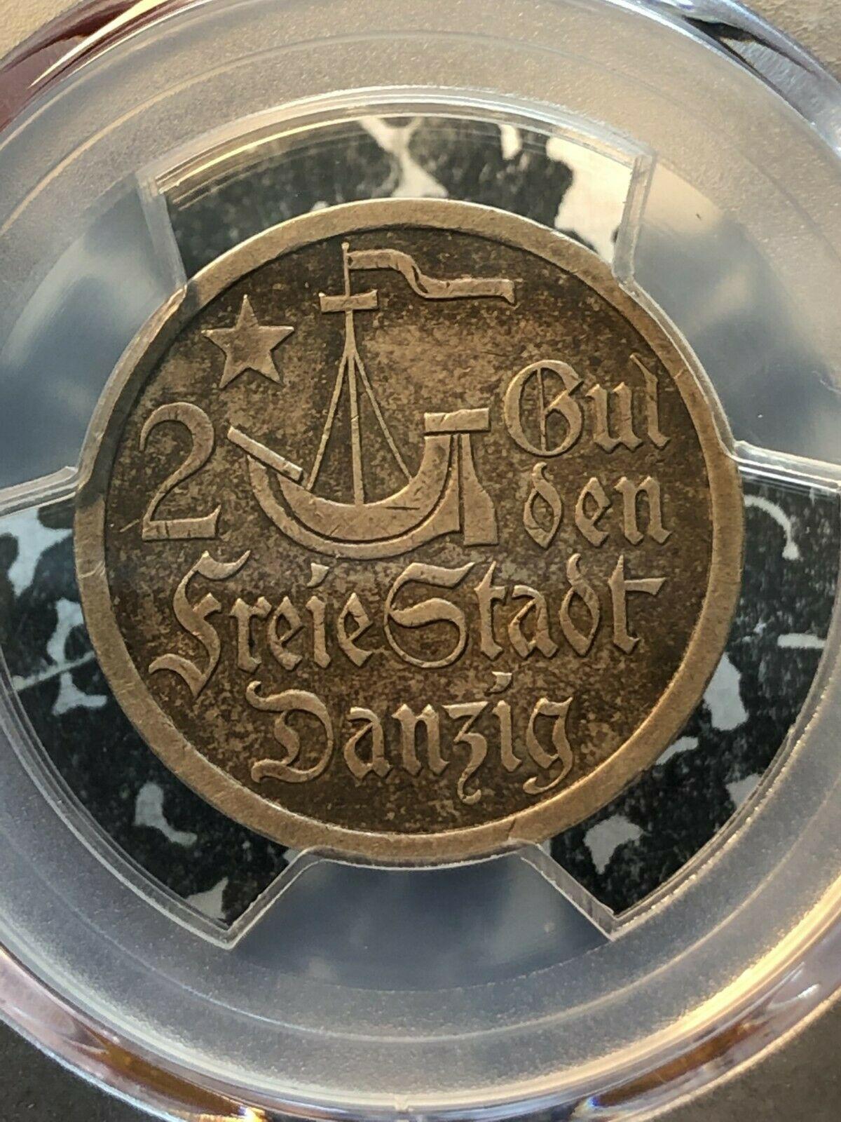 1923 Danzig 2 Gulden PCGS Au50 Lotto #G205 Argento! Nice Esempio