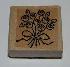 Rose Bouquet Rubber Stamp Roses Stampin' Up! Wedding Bow Arrangement Retired #2  - $5.93