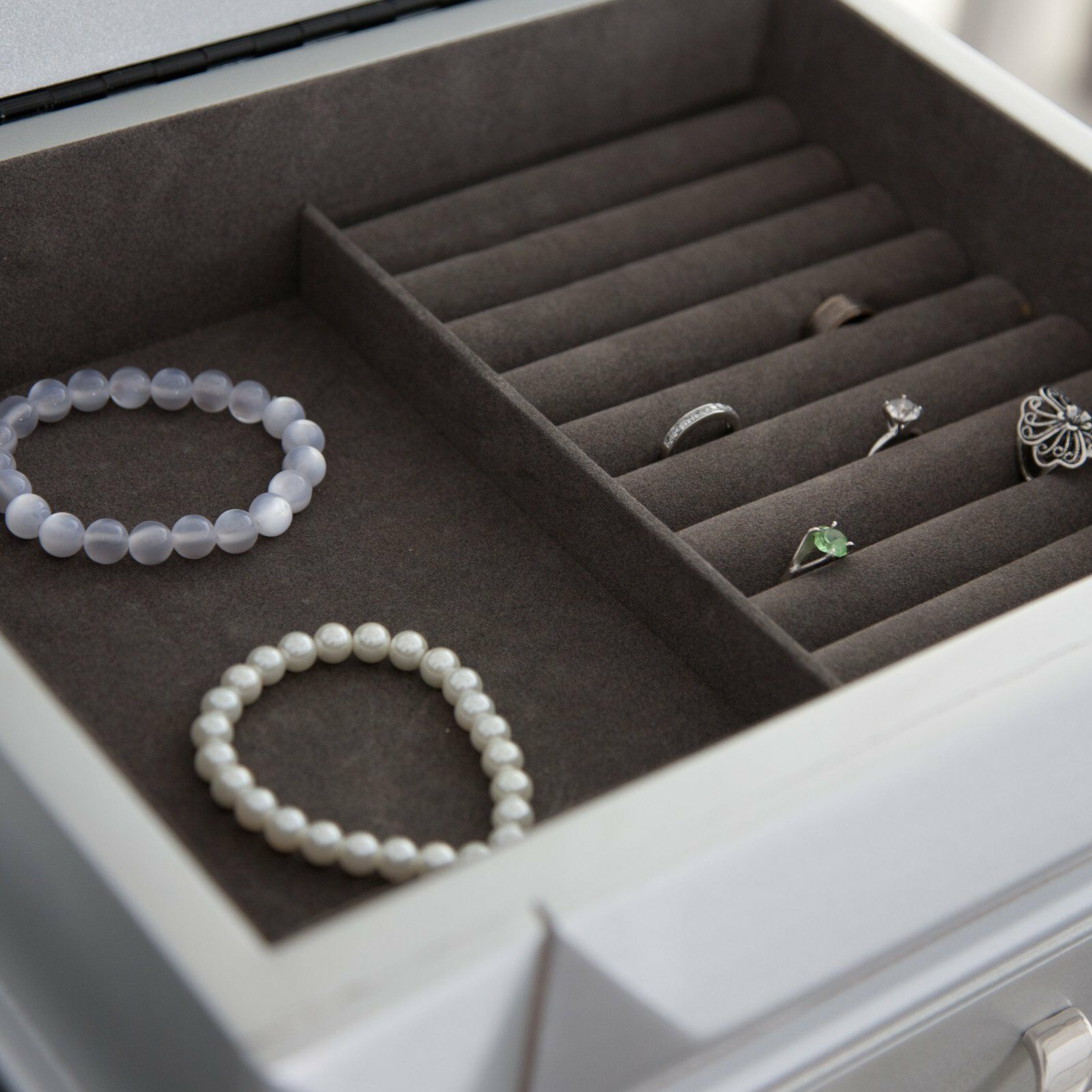 Silver Modern Glam Freestanding Jewelry Armoire Storage ...