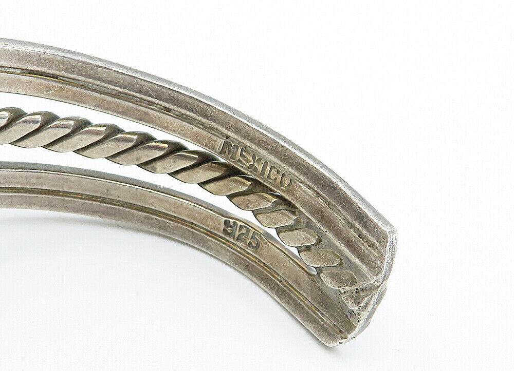 MEXICO 925 Sterling Silver - Vintage Twist Dome Detailed Cuff Bracelet - B6022 image 4