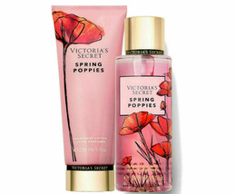 Victoria Secret Spring Poppies Lotion & Fragrance Mist Set NEW - $44.54