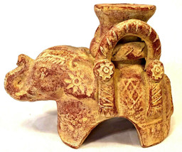 Terracotta Elephant Candle Holder / Candlestick with Aged Patina - $9.90