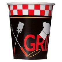 Backyard BBQ Grill 8 Ct 9 Oz Hot Cold Cups Paper Party Banquet - $2.99
