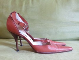 Prada saddle tan leather buckle strap high heel sandals shoes pointed to... - $123.75