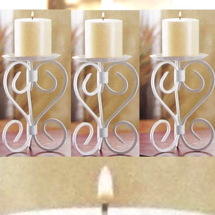 Lot of 6 Mission White Pillar Candle Stand Candle Holder Wedding Centerpieces