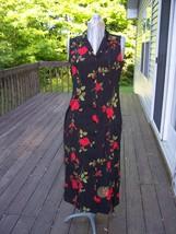 Studio I Petit Black Floral Dress Sleeveless 6 P  Buttons down front - $14.99