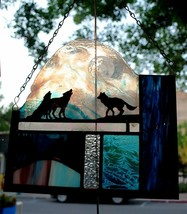 Stained Glass Window Panel wolf coyote moon mountain blue - $98.01