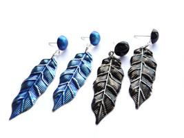 Feather Earrings, Blue Feather Earrings, Black Feather Earrings, Wing Fe... - $20.00