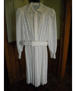 Women's Vintage Dress By IN THE MOOD Ivory Embelished Belt Pleated Skirt... - $28.50