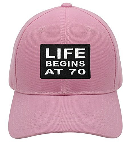 Life Begins At 70 Hat - Pink Adjustable Womens