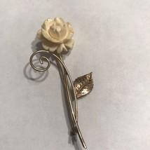 Vintage Signed WINARD 12K GF Gold Filled Creme Flower Brooch Pin J0571 - $14.25