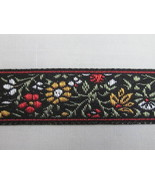 """5 yards 5/8"""" Red BLACK MULTICOLORED FLORAL JACQUARD RIBBON - $6.99"""