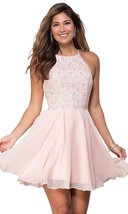 Halter Open Back Beaded Chiffon Formal Prom Dress Short Lace Homecoming Dresses - $109.99+