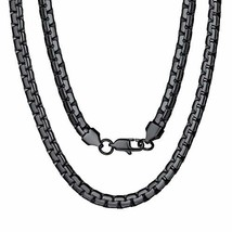Black Metal Chain Long Stainless Steel Necklace Boys 28 inch - $11.34