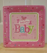 """Welcome Baby Girl Butterfly Baby Shower Party 10 1/4"""" Square Banquet Plates - $8.79"""