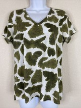 Liz Claiborne Womens Size L Green Abstract Pattern T-Shirt Short Sleeve ... - $14.85
