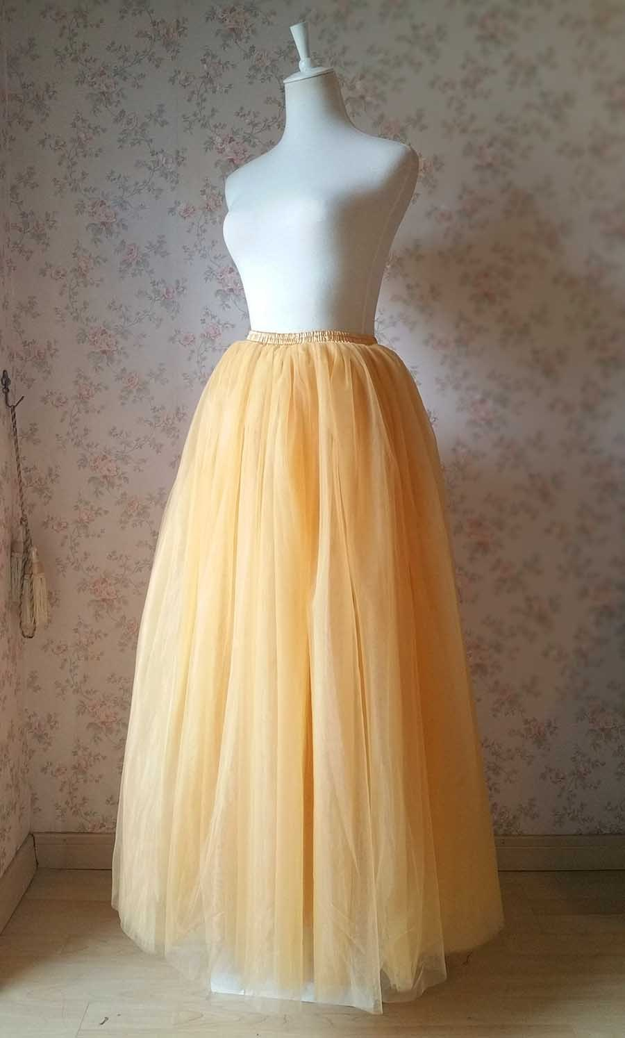 GOLDEN Elastic High Waist Floor Length Full Tulle Skirt Plus Size Wedding Skirts